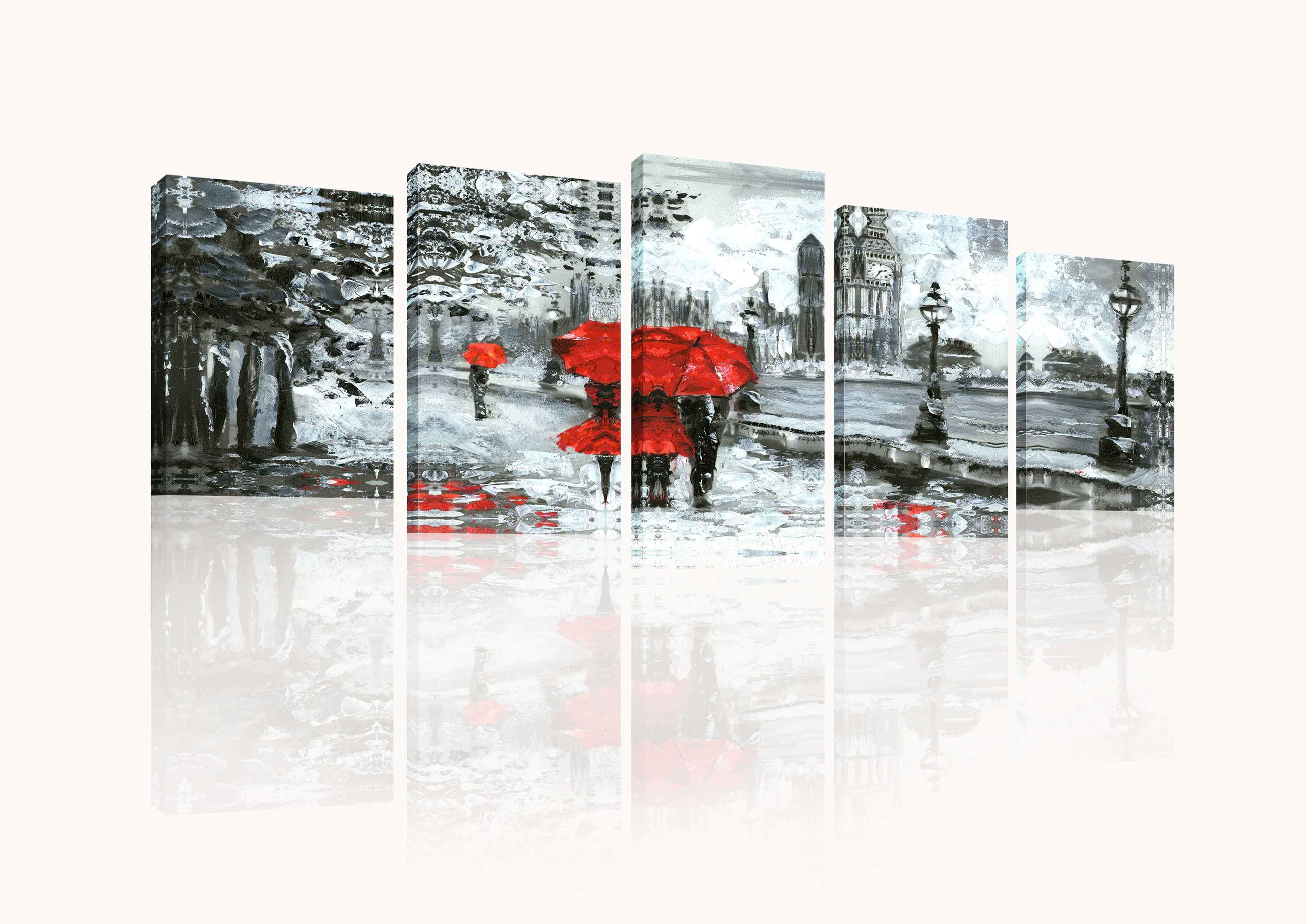 Forest Waterfalls 5 Piece Modern Wrapped Canvas Prints Artwork for Living Room